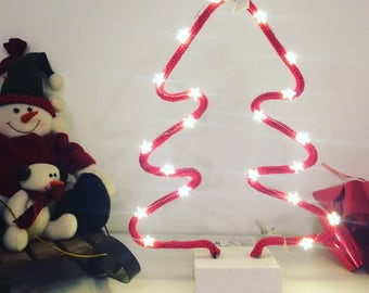 Christmas tree decoration red wool with string light led stars