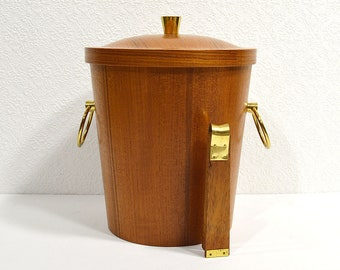 Vintage Teak Ice Bucket with Tongs- Danish Modern Ice Bucket, Real Wood with Aluminum Lining and Teak and Brass Ice Tongs, Vintage Barware