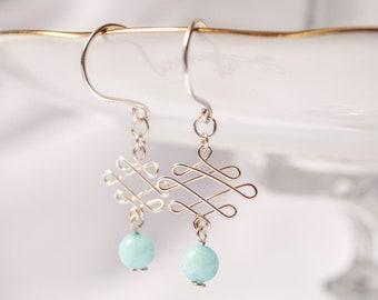 Blue Amazonite Celtic Knot Earrings
