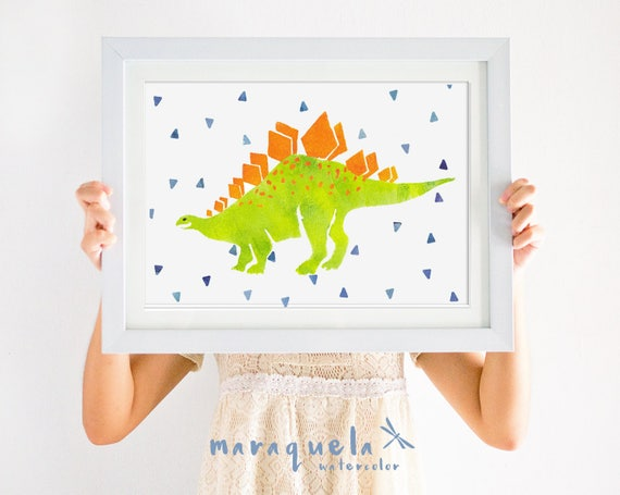 DINOSAUR III, illustration for kids and baby, newborn. Green and orange hues.