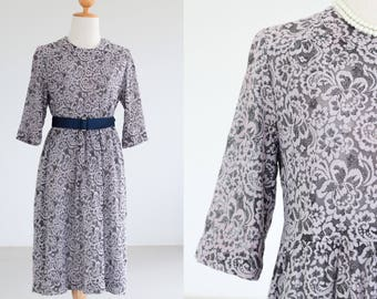 80s fully LACE DRESS Elbow Length Sleeves Full dress 1980s Vintage Retro