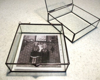 SQUARE Clear Glass Photo Display Box  - Hinged Top - Jewelry - Collections