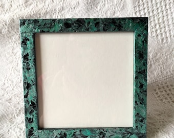 Green With Envy Collection- Acrylic Paint with Glossy Overlay, Hand Painted Picture Frame for One 4.5x4.5 Photo