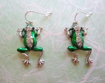 Green Rhinestone Frog Earrings, Rhinestone Frog Earrings, Frog Earrings, Green Silver Black Rhinestone Frog Earrings, Frog Lover Gift