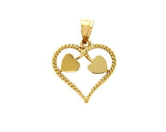 14k solid gold heart pendant. Heart jewelry, Love jewelry
