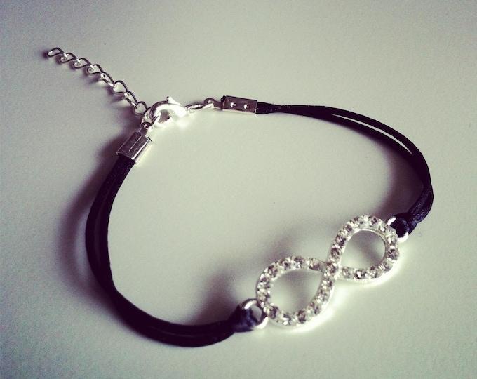Black cord with silver rhinestone infinity sign bracelet