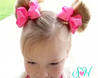"""Cute and Fluffy """"Ashley"""" Style Pigtail or Ponytail Hair Bows, Choice of Solid Color {Set of 2}"""