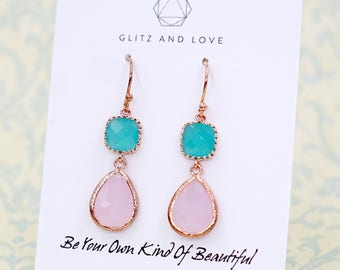 Mint Cushion Pink Teardrop Earrings | Rose Gold | Simple Bridesmaid Bridal Wedding Jewerly Gifts | Something blue | GlitzAndLove E297