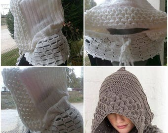 scarf - women's Hoodie / white / crochet pattern in your choice of color