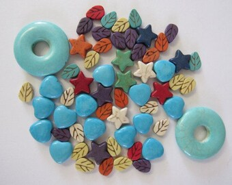 60 Magnesite Stone Mix, 35mm Donuts, 15mm Star, 12mm Leaves, Hearts, Heart, Britz Beads Supply