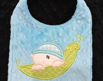 Pea in a Pod Bib/minky bib/baby bib/personalized bib/gender neutral bib/baby shower gift/toddler bib/newborn bib/blue minky bib