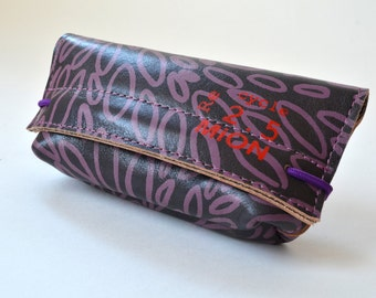 Leather case for pens or glasses (brown leather with purple print)