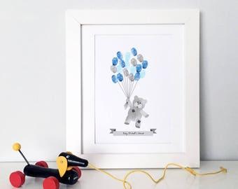 Teddy Bear Balloons Guestbook, Monochrome Patchwork Teddy, Fingerprint Guestbook, Baby Shower, Christening Print, Nursery Wall Art, New Baby
