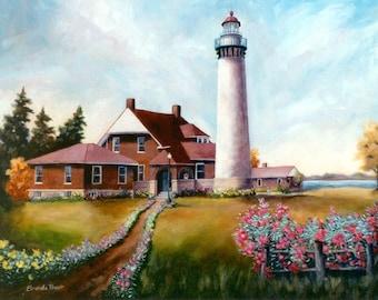 "Seul Choix Lighthouse Original Oil Painting 16x20"""