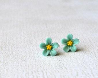 Aqua Hibiscus Earrings- Titanium Hibiscus Flower Earrings- Aqua Flower Studs- Titanium Flower Studs- Hypoallergenic Earrings- Gift under 10