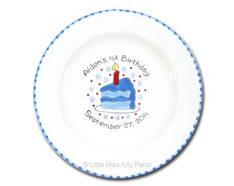 Free Shipping - Personalized Birthday Cake - Hand Painted Signature Birthday Plate - 1st Birthday - Guest Book plate - signature plate