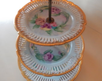 FRANCE or GERMANY HAND Painted Three Tiered Server with Pansies