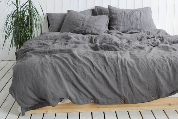 pin deep the with duvet cotton finish dark bed charcoal cover linen woven grey from laundered softest