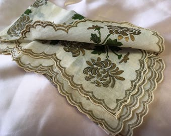 "60's ""LADIES HANDKERCHIEF"" with Scalloped Edges in Gold Toned Chrysanthemums.  Super Lovely!"