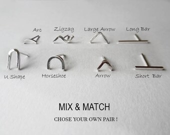 Mix and Match Sterling Silver Stud Earrings | Mismatched Earrings | Silver Stud Earring Set of 2 | Geometric Stud Earrings | Everyday studs