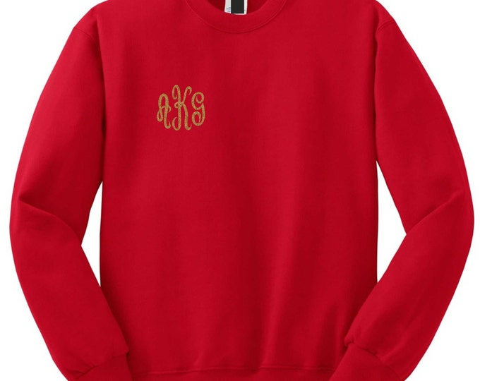 monogrammed crewneck sweatshirt . Monogram sweatshirt . monogram sweater . Custom monogram - 3 X 3 design in corner - plus sizes - oversized