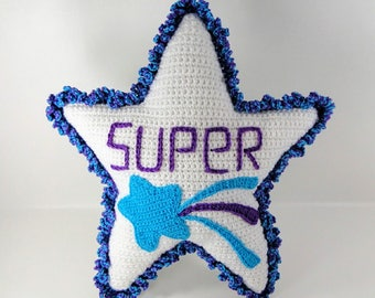 Crochet Pattern - Superstar Pillow Crochet Pattern - Star Pillow #104 - Instant Download PDF