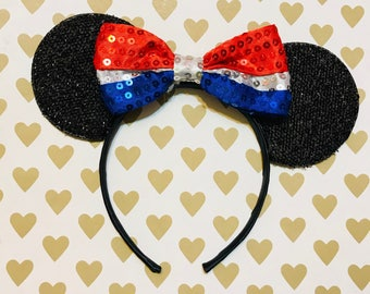 Cute Patriotic Sequin Bow Tie inspired Black Sparkle Minnie Mouse Headband Ears