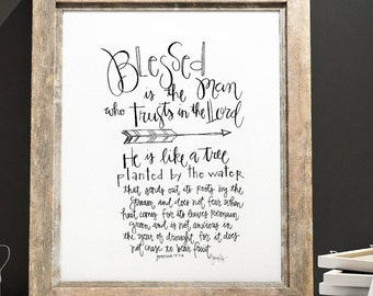 Scripture Art Digital Download - Jeremiah 17:7-8   - Blessed is the man who trust in the Lord