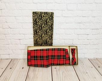 Vintage Red Plaid Bow Tie and Cumberbund Set
