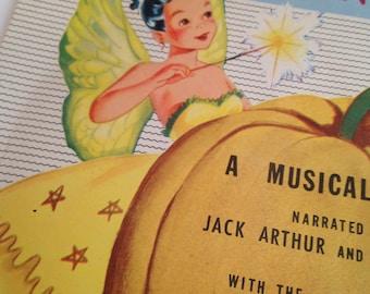 vintage 1953 cinderella vinyl record, 45 rpm, children, peter pan records