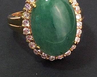 Vintage JBK Jackie Kennedy Gold Green Aventurine CZ Ring - Jackie Kennedy Green Aventurine Ring - Size 10 1/4