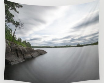 Nature Photography, Wall Tapestry, Boundary Waters, Small Lake Images, Large Wall Art, Minnesota Images, Long Exposure, Smooth Water, Water