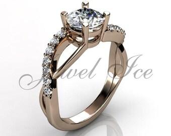 Engagement Ring - 14k Rose Gold Diamond Engagement Ring Anniversary Ring Promise Ring Wedding Ring ER-1135-3