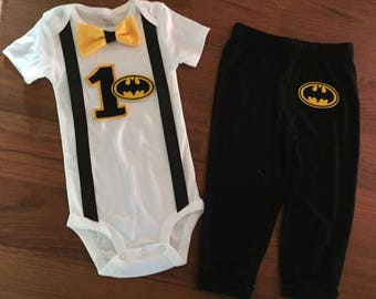 Batman embroidered birthday, Boys birthday outfit, Baby boy first birthday, Batman party, Baby boy second birthday, Batman cake smash Outfit
