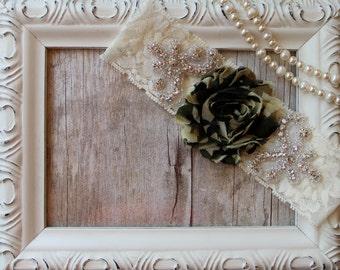 Wedding Garter. Toss Garter, Rose Garter, Wedding Garter, with Camouflage Rosette, Bridal Garter, Crystal Garter