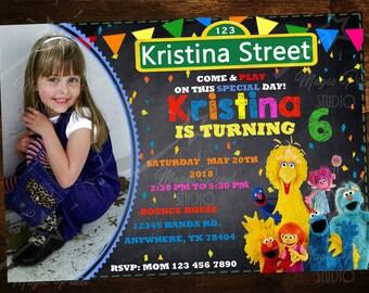 Custom Digital Sesame Street Invitations