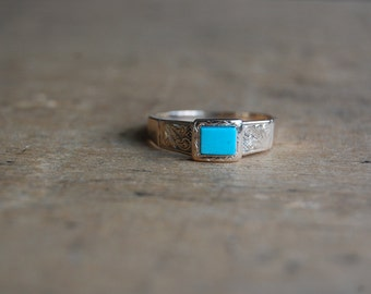 Victorian mourning ring with turquoise panel ∙ gold mourning ring