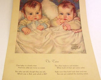 Maud Tousey Fangel The Twins and Little Miss Prim Babies Book Prints Verse Alice Higgins