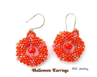 Orange Earrings - Pumpkin Earrings - Halloween Earrings - Peyote -  E2010-50
