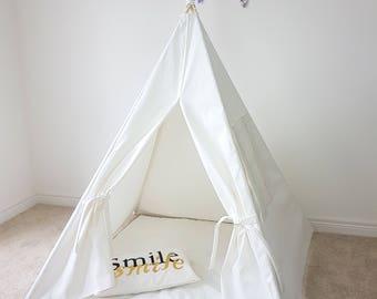 Kids Teepee Tent Plain OFF-white Canvas Teepee Tipi Playhouse Play Tent