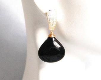 Mothersdaysale Smooth Black Onyx Dangle Drop Earrings