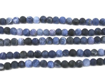 20 round beads 4 mm frosted Sodalite blue