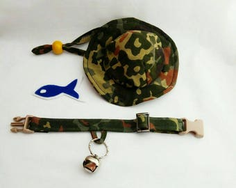 Camouflage Hat for Dog or Cat - Including a Collar - Safari Hat - Fisherman Hat