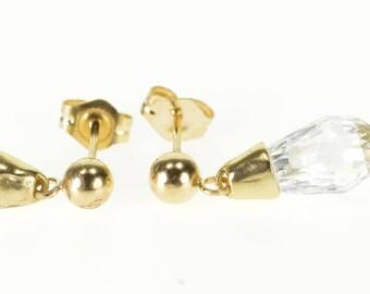10k Faceted Cubic Zirconia Drop Dangle Post Back Earrings Gold