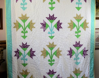 Vintage Quilt White and Green with Large Flowers in a Pot Blocks Purple and Brown 60 X 80 Full Size Summer Quilt Decent Condition