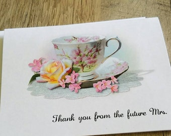 Beautiful Personalized Blossom Time Cup of Tea Teacup Note Cards - Invitations - Thank You Cards for Bridal Shower or Luncheon ~ Bridal Gift