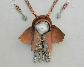 The Runt Angel, Protector of Pets, Hand-Forged Copper Pendant (Removable) & Charms, Molded Concrete Face, Copper Chain, Set by SandraDesigns
