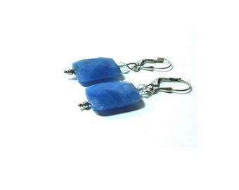 Blue Denim Quartz Earrings ,  Sterling Silver Lever Ear Wires