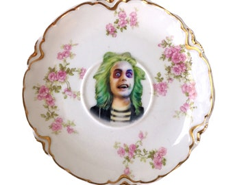 Vintage - Illustrated - BeetleJuice -   Saucer Plate -  Altered Plate - Antique - Upcycled - Horror -