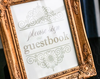 """Vintage Wedding Signage, Reserved Seating Sign, Guestbook Sign, Gold and Sage Green, Elegant Table Decor - """"European Scroll"""" Guestbook Sign"""